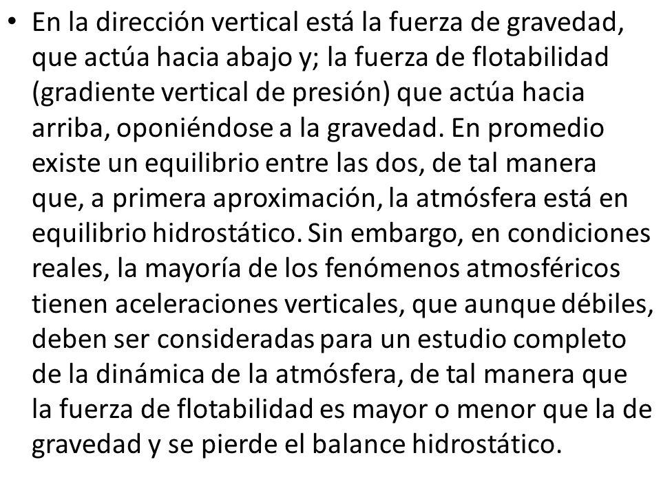 En la dirección vertical está la fuerza de gravedad, que actúa hacia abajo y; la fuerza de flotabilidad (gradiente vertical de presión) que actúa hacia arriba, oponiéndose a la gravedad.