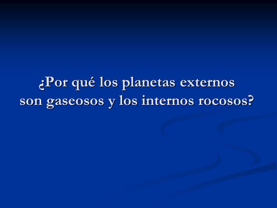 ¿Por qué los planetas externos son gaseosos y los internos rocosos