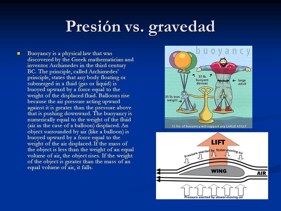 Presión vs. gravedad