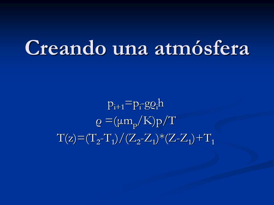 pi+1=pi-gρih ρ =(μmp/K)p/T T(z)=(T2-T1)/(Z2-Z1)*(Z-Z1)+T1