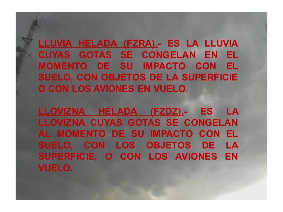 LLUVIA HELADA (FZRA).- ES LA LLUVIA CUYAS GOTAS SE CONGELAN EN EL MOMENTO DE SU IMPACTO CON EL SUELO, CON OBJETOS DE LA SUPERFICIE O CON LOS AVIONES EN VUELO.