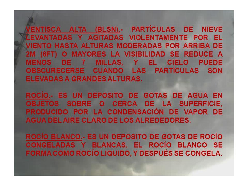 VENTISCA ALTA (BLSN).- PARTÍCULAS DE NIEVE LEVANTADAS Y AGITADAS VIOLENTAMENTE POR EL VIENTO HASTA ALTURAS MODERADAS POR ARRIBA DE 2M (6FT) O MAYORES LA VISIBILIDAD SE REDUCE A MENOS DE 7 MILLAS, Y EL CIELO PUEDE OBSCURECERSE CUANDO LAS PARTÍCULAS SON ELEVADAS A GRANDES ALTURAS.