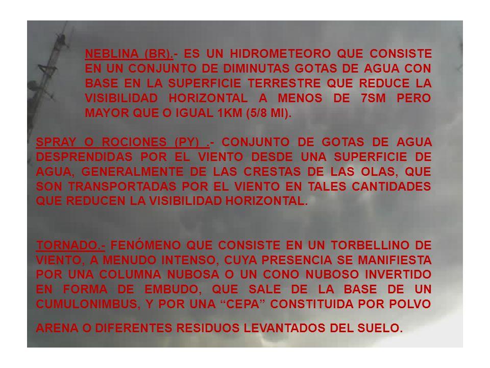 NEBLINA (BR).- ES UN HIDROMETEORO QUE CONSISTE EN UN CONJUNTO DE DIMINUTAS GOTAS DE AGUA CON BASE EN LA SUPERFICIE TERRESTRE QUE REDUCE LA VISIBILIDAD HORIZONTAL A MENOS DE 7SM PERO MAYOR QUE O IGUAL 1KM (5/8 MI).