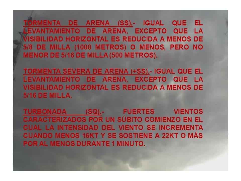 TORMENTA DE ARENA (SS).- IGUAL QUE EL LEVANTAMIENTO DE ARENA, EXCEPTO QUE LA VISIBILIDAD HORIZONTAL ES REDUCIDA A MENOS DE 5/8 DE MILLA (1000 METROS) O MENOS, PERO NO MENOR DE 5/16 DE MILLA (500 METROS).