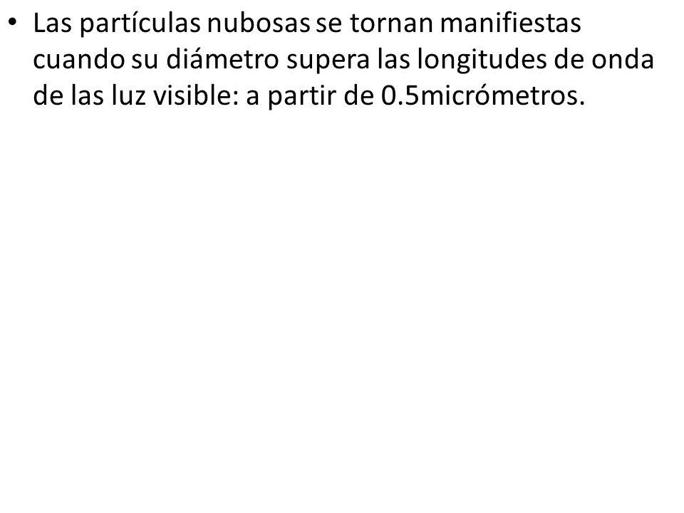 Las partículas nubosas se tornan manifiestas cuando su diámetro supera las longitudes de onda de las luz visible: a partir de 0.5micrómetros.