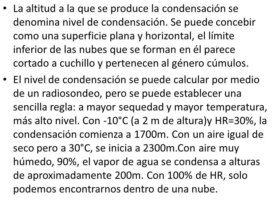 La altitud a la que se produce la condensación se denomina nivel de condensación. Se puede concebir como una superficie plana y horizontal, el límite inferior de las nubes que se forman en él parece cortado a cuchillo y pertenecen al género cúmulos.