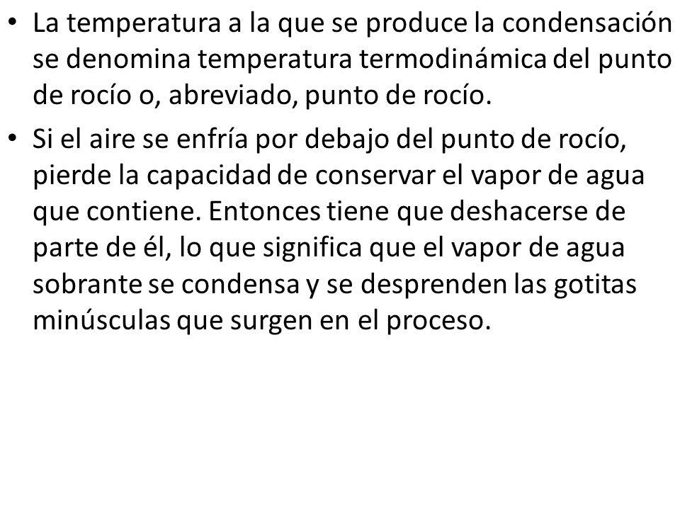 La temperatura a la que se produce la condensación se denomina temperatura termodinámica del punto de rocío o, abreviado, punto de rocío.