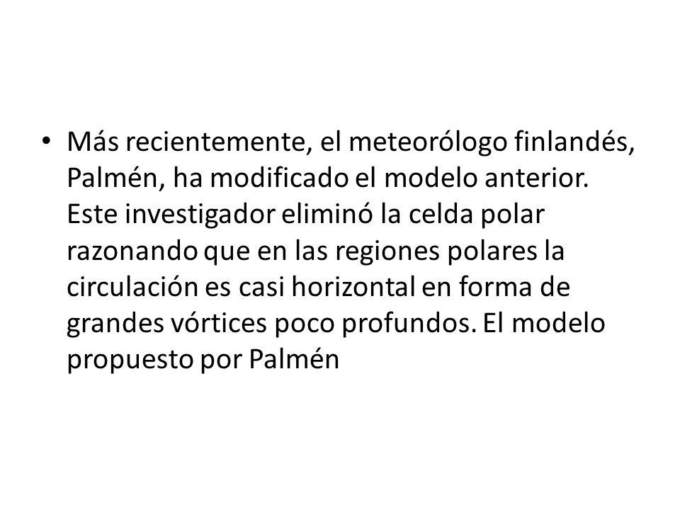 Más recientemente, el meteorólogo finlandés, Palmén, ha modificado el modelo anterior.