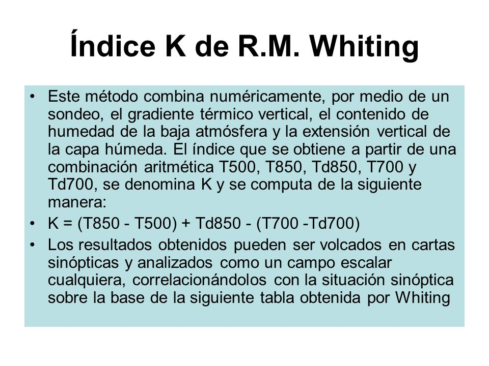 Índice K de R.M. Whiting