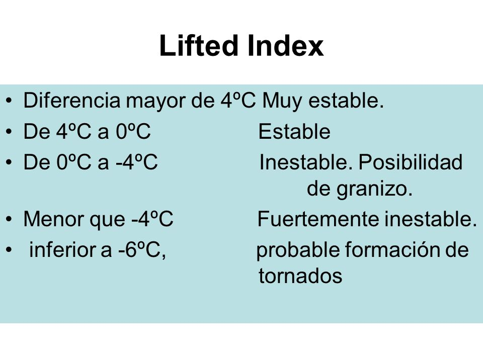 Lifted Index Diferencia mayor de 4ºC Muy estable. De 4ºC a 0ºC Estable