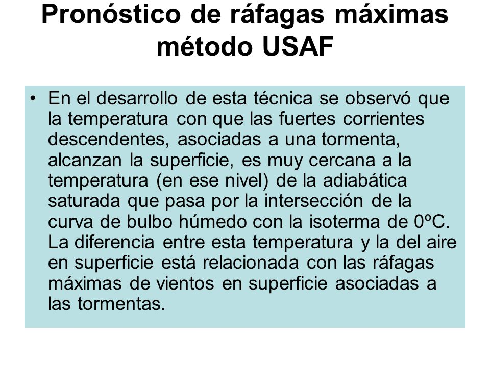 Pronóstico de ráfagas máximas método USAF
