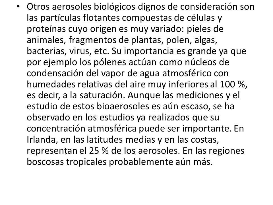 Otros aerosoles biológicos dignos de consideración son las partículas flotantes compuestas de células y proteínas cuyo origen es muy variado: pieles de animales, fragmentos de plantas, polen, algas, bacterias, virus, etc.