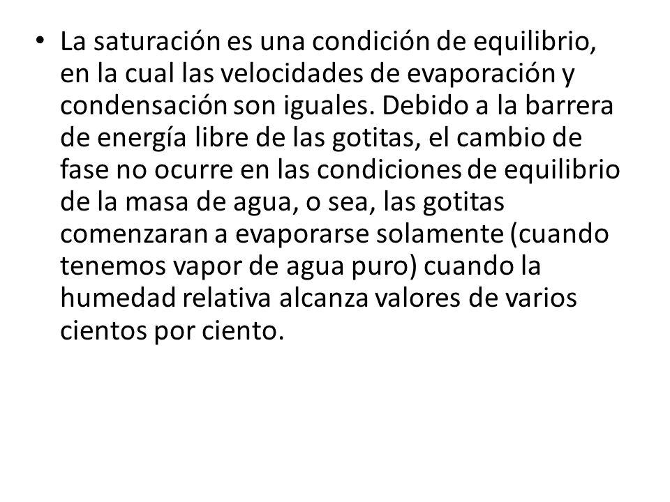 La saturación es una condición de equilibrio, en la cual las velocidades de evaporación y condensación son iguales.