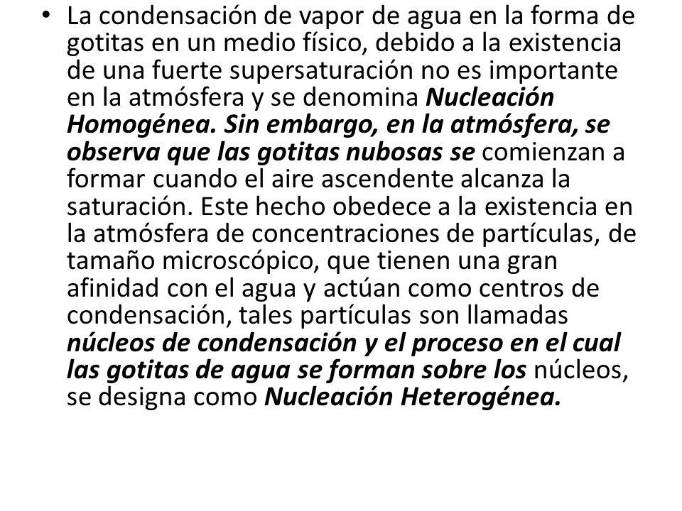 La condensación de vapor de agua en la forma de gotitas en un medio físico, debido a la existencia de una fuerte supersaturación no es importante en la atmósfera y se denomina Nucleación Homogénea.