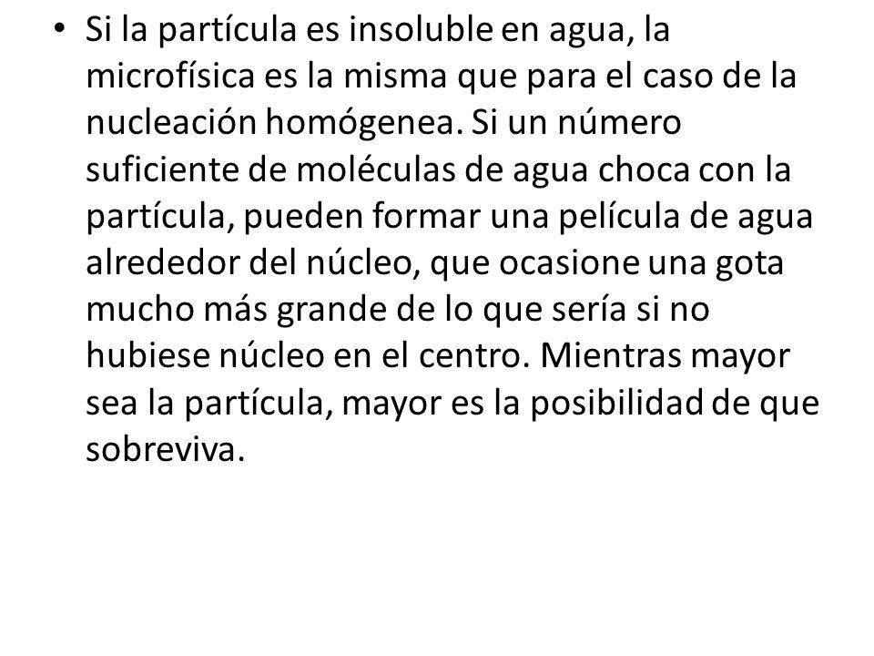 Si la partícula es insoluble en agua, la microfísica es la misma que para el caso de la nucleación homógenea.