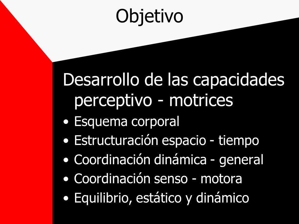 Objetivo Desarrollo de las capacidades perceptivo - motrices