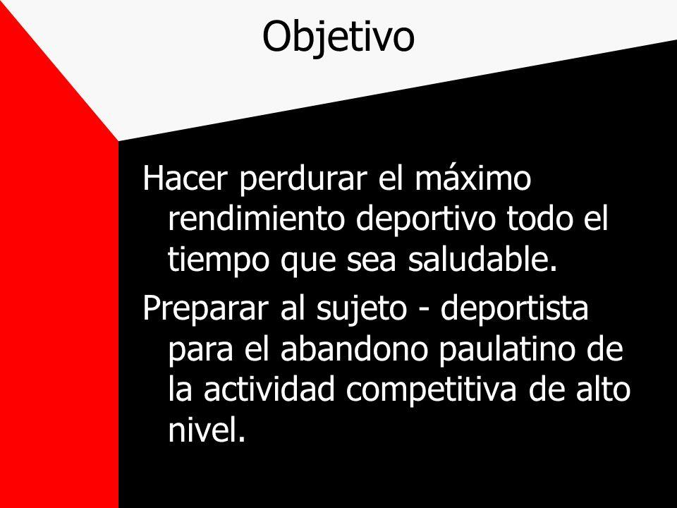 Objetivo Hacer perdurar el máximo rendimiento deportivo todo el tiempo que sea saludable.