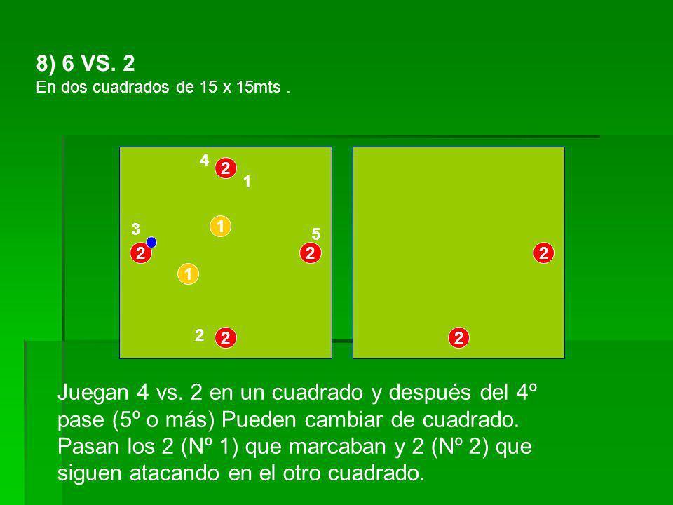 8) 6 VS. 2 En dos cuadrados de 15 x 15mts . 4. 2. 1. 3. 1. 5. 2. 2. 2. 1. 2. 2. 2.