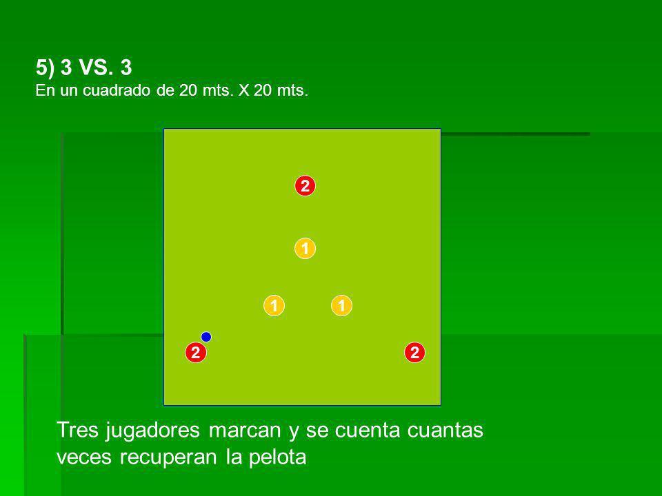 Tres jugadores marcan y se cuenta cuantas veces recuperan la pelota