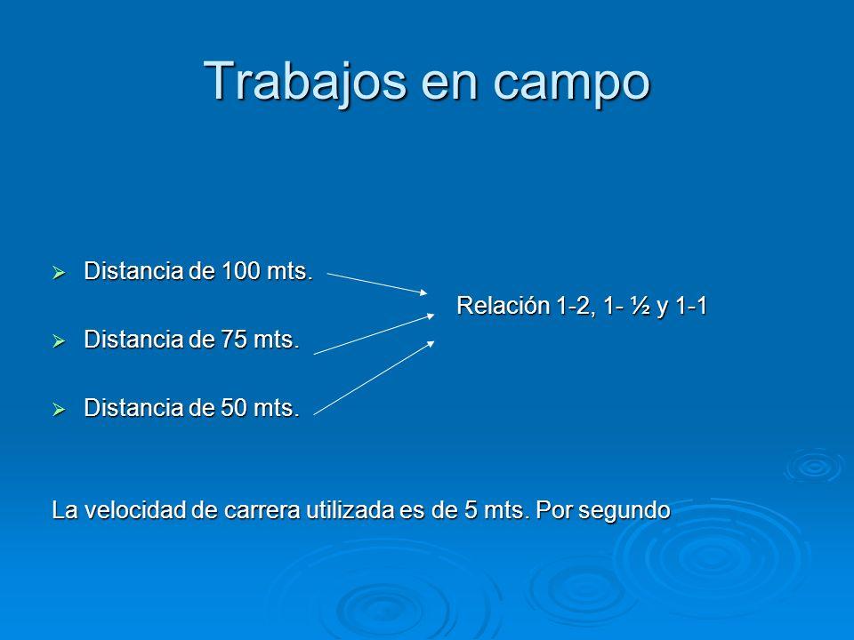 Trabajos en campo Distancia de 100 mts. Relación 1-2, 1- ½ y 1-1