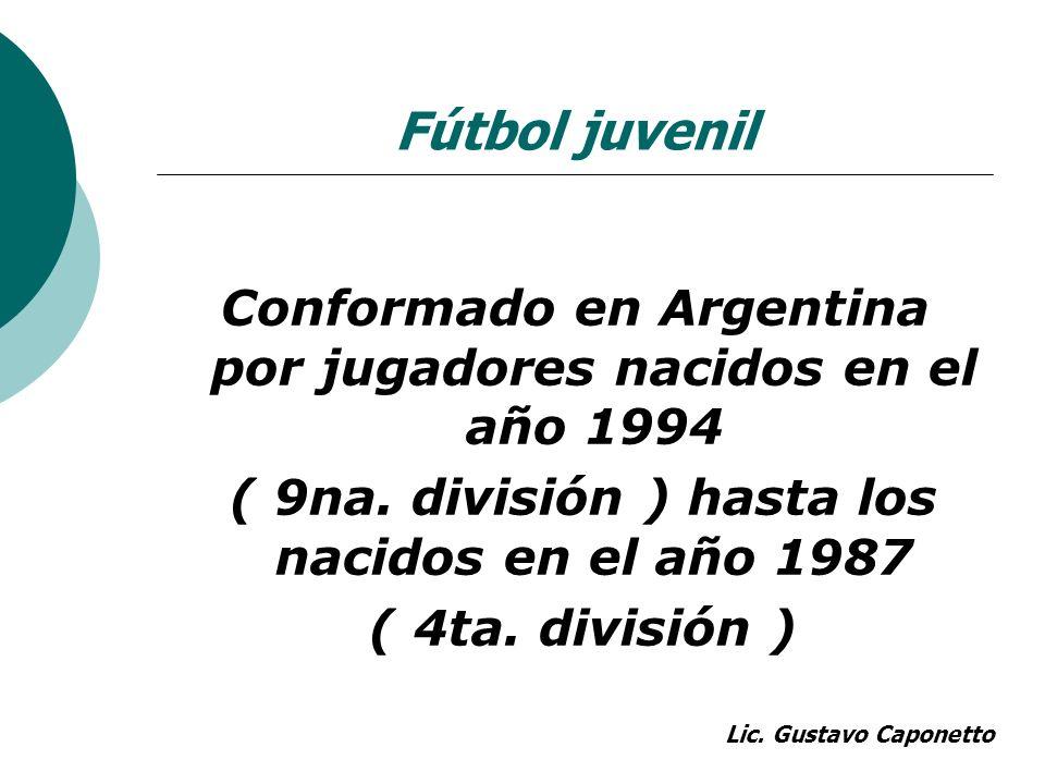 Fútbol juvenil Conformado en Argentina por jugadores nacidos en el año 1994. ( 9na. división ) hasta los nacidos en el año 1987.