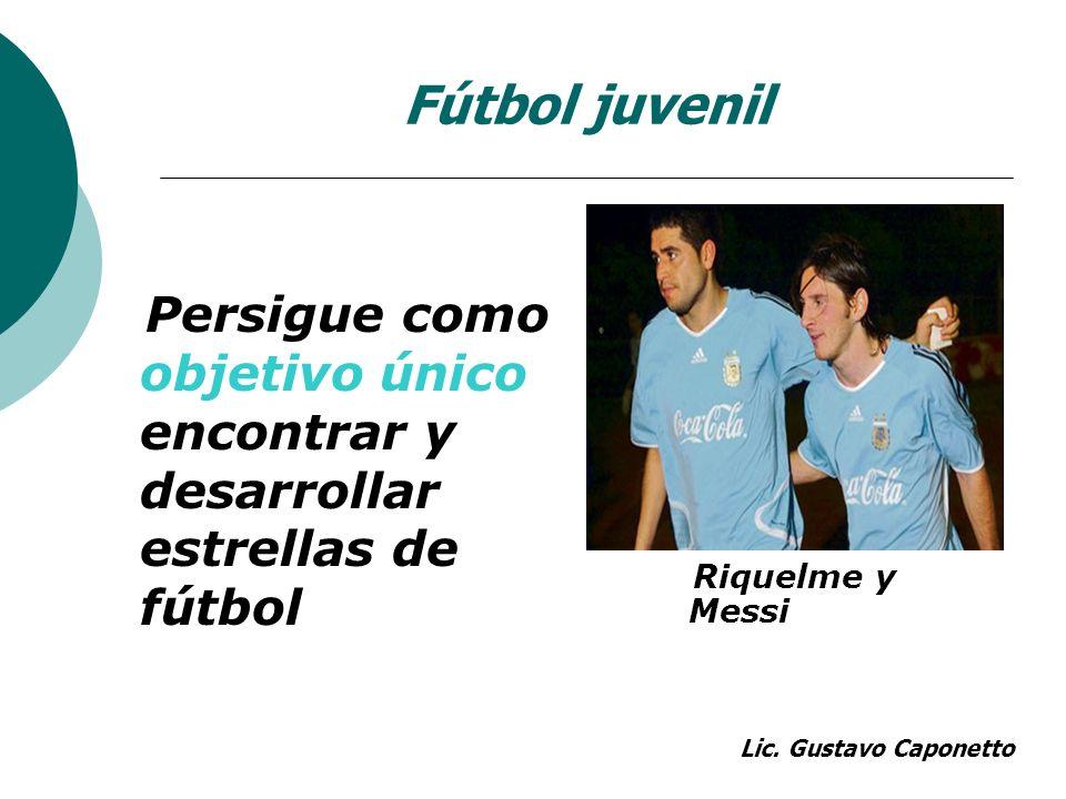 Fútbol juvenil Persigue como objetivo único encontrar y desarrollar estrellas de fútbol. Riquelme y Messi.