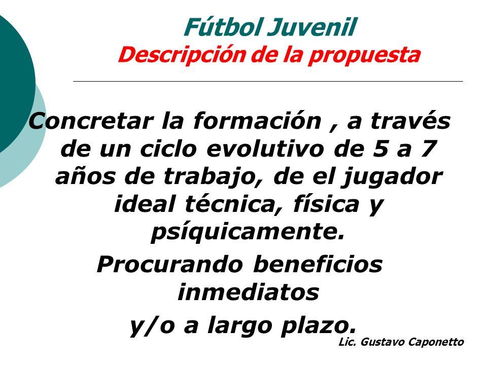 Fútbol Juvenil Descripción de la propuesta