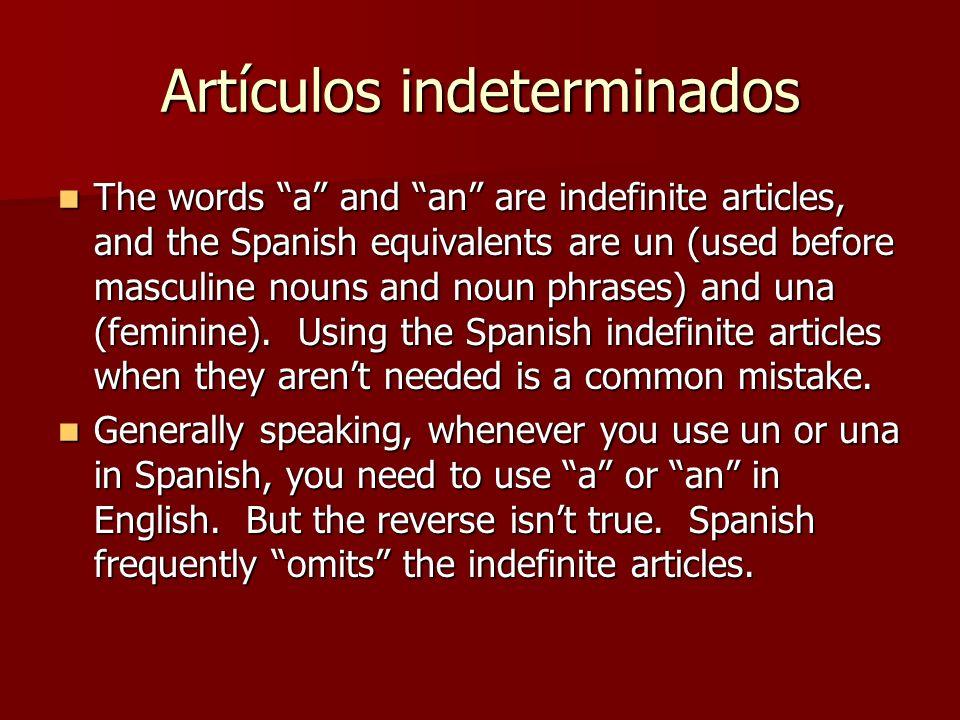 Artículos indeterminados