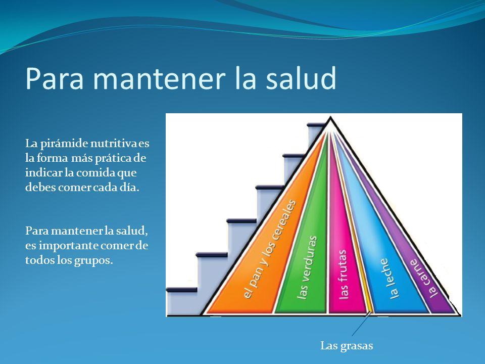 Para mantener la salud La pirámide nutritiva es la forma más prática de indicar la comida que debes comer cada día.