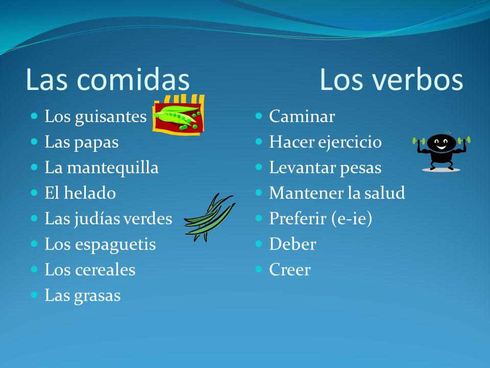 Las comidas Los verbos Los guisantes Las papas La mantequilla