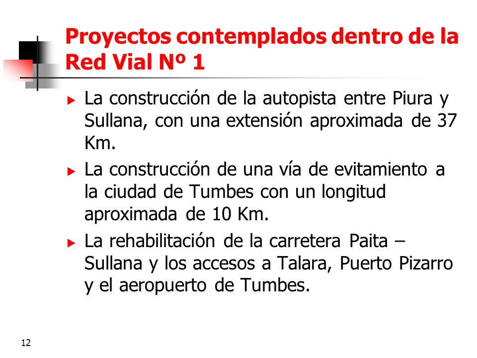 Proyectos contemplados dentro de la Red Vial Nº 1