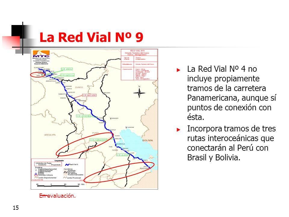 La Red Vial Nº 9 La Red Vial Nº 4 no incluye propiamente tramos de la carretera Panamericana, aunque sí puntos de conexión con ésta.