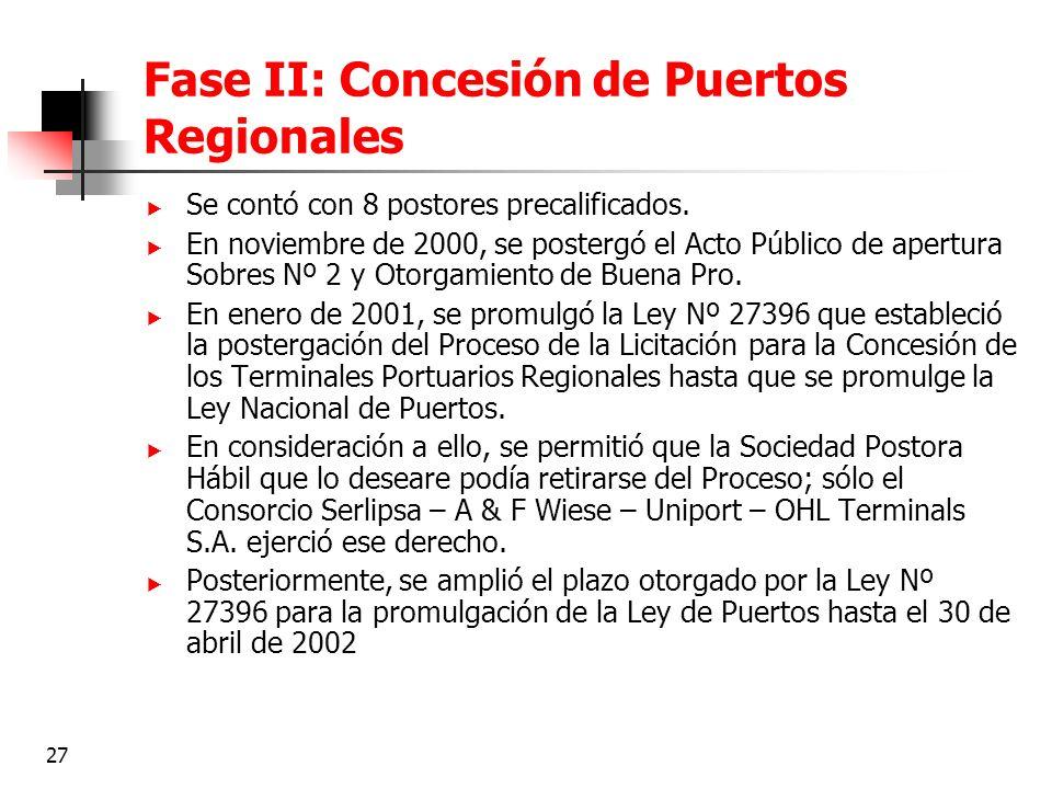 Fase II: Concesión de Puertos Regionales