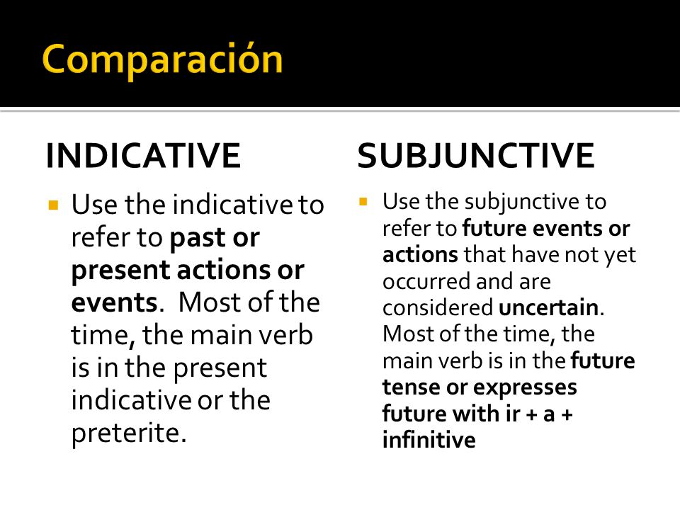 Comparación INDICATIVE SUBJUNCTIVE