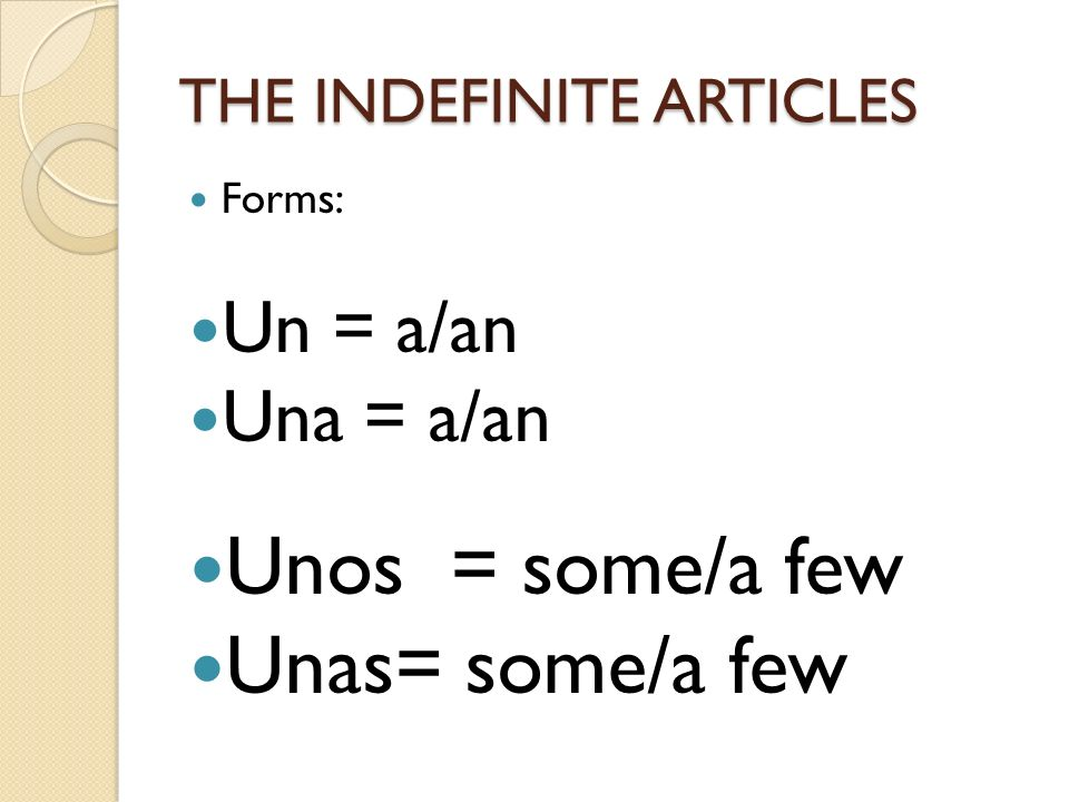 THE INDEFINITE ARTICLES