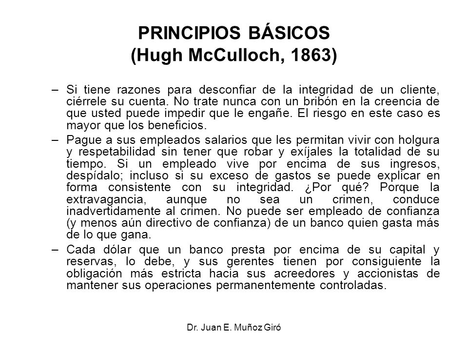 PRINCIPIOS BÁSICOS (Hugh McCulloch, 1863)