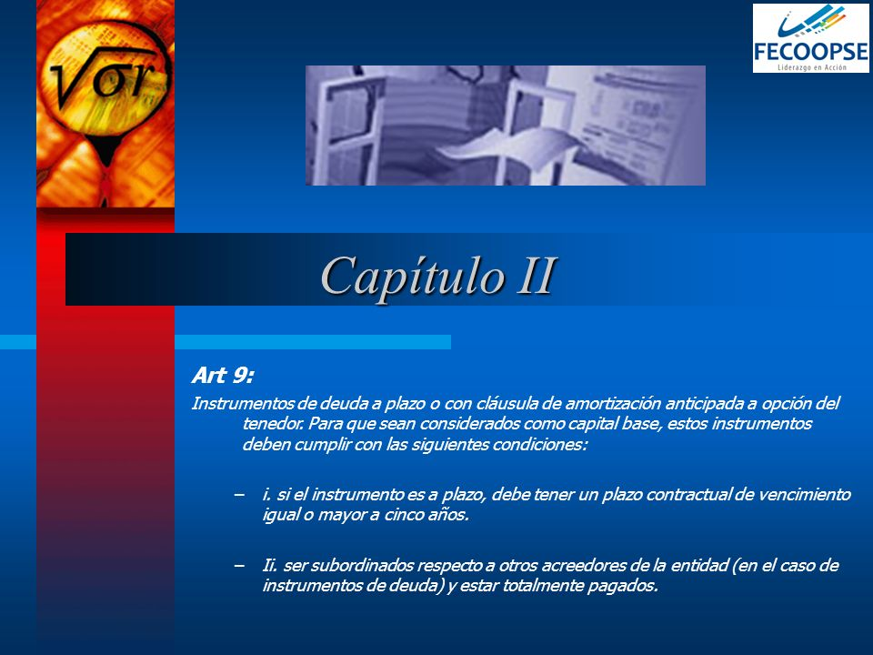 Capítulo IIArt 9: