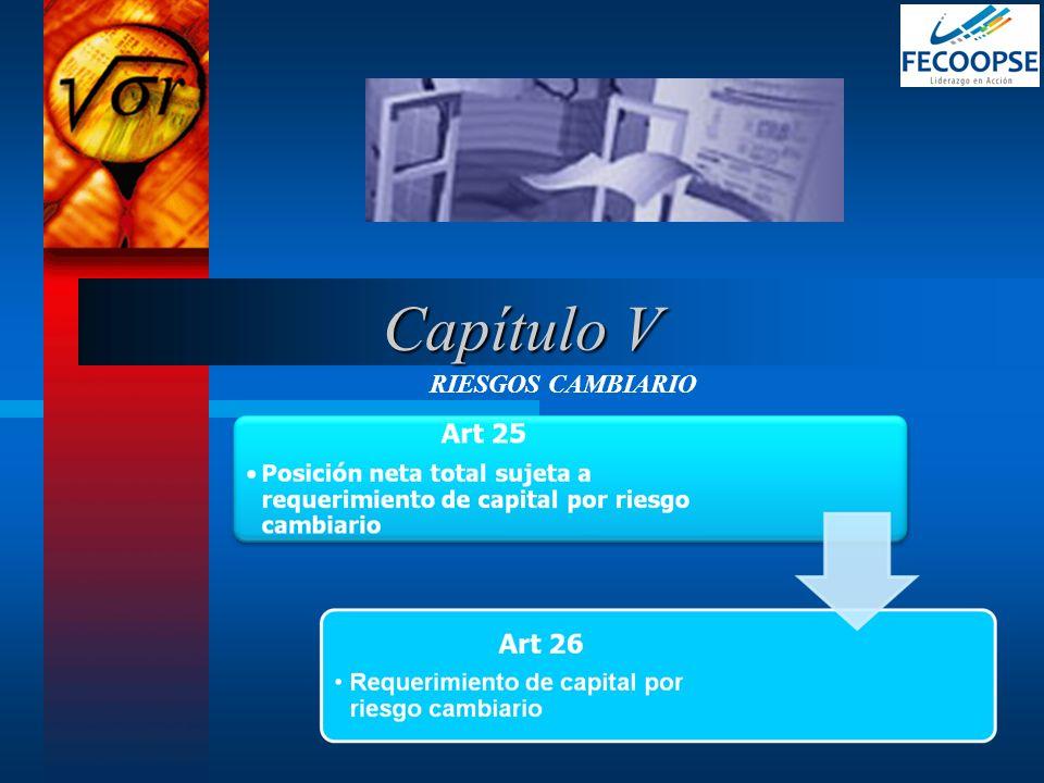 Capítulo V RIESGOS CAMBIARIO
