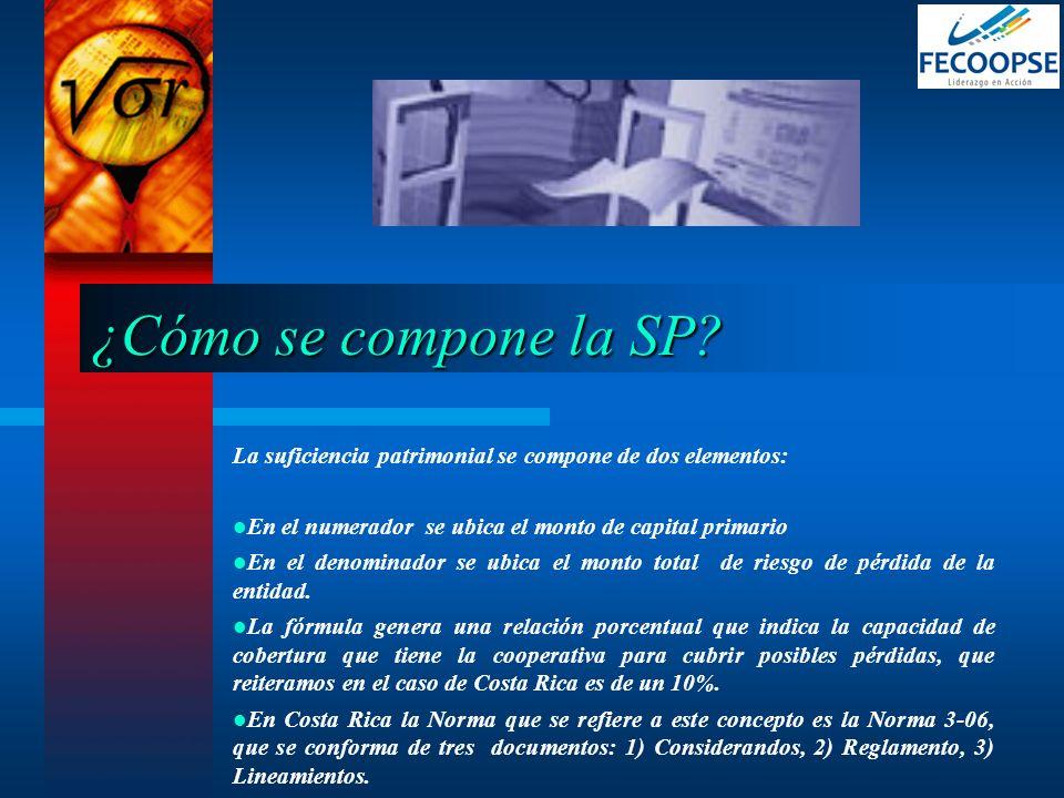 ¿Cómo se compone la SP La suficiencia patrimonial se compone de dos elementos: En el numerador se ubica el monto de capital primario.