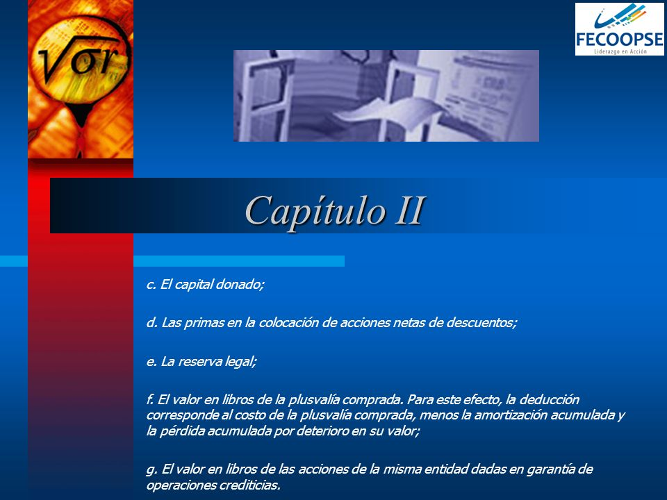 Capítulo II c. El capital donado;