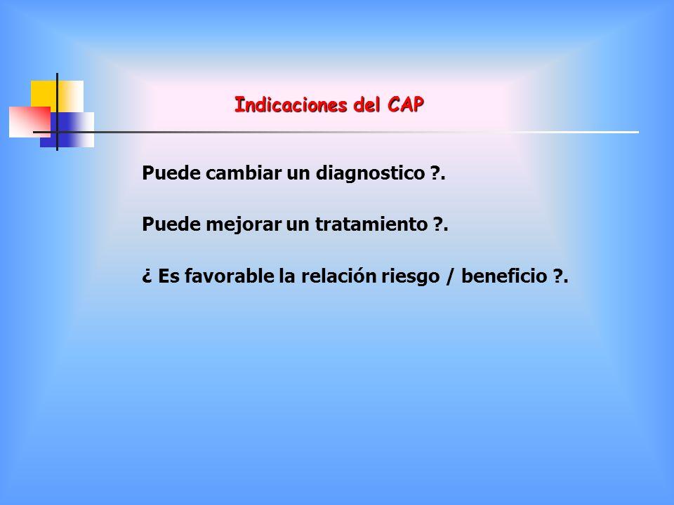 Indicaciones del CAP Puede cambiar un diagnostico .