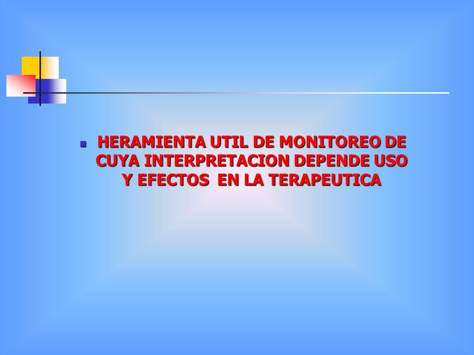 HERAMIENTA UTIL DE MONITOREO DE CUYA INTERPRETACION DEPENDE USO Y EFECTOS EN LA TERAPEUTICA