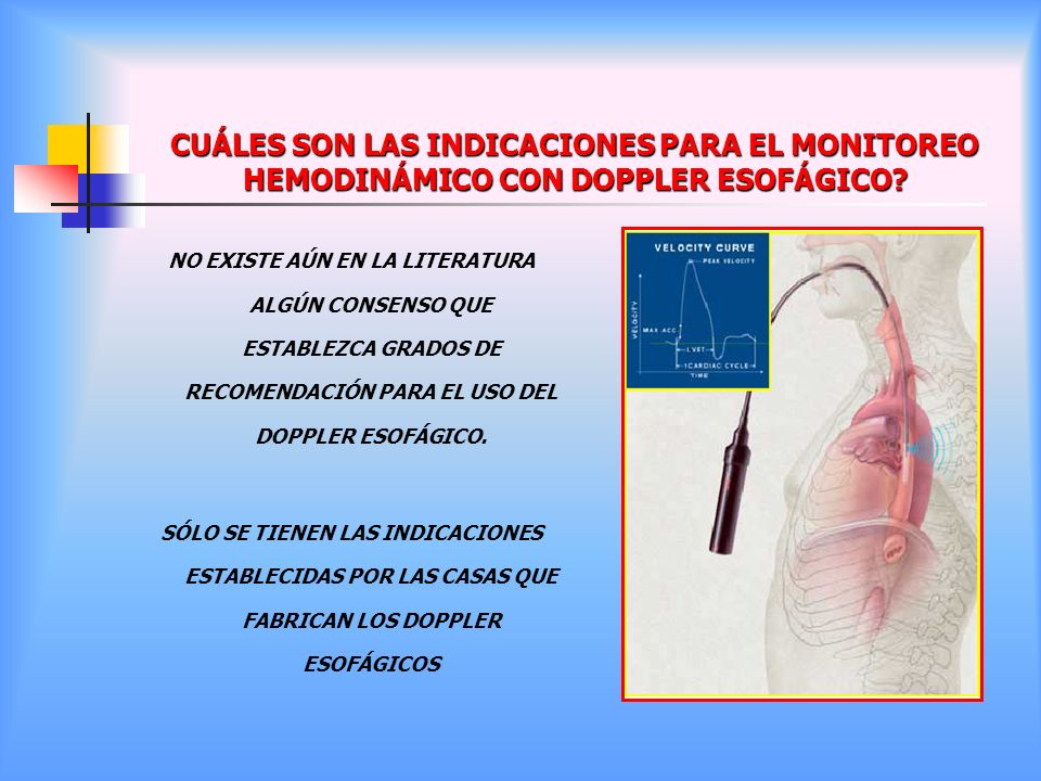 CUÁLES SON LAS INDICACIONES PARA EL MONITOREO HEMODINÁMICO CON DOPPLER ESOFÁGICO