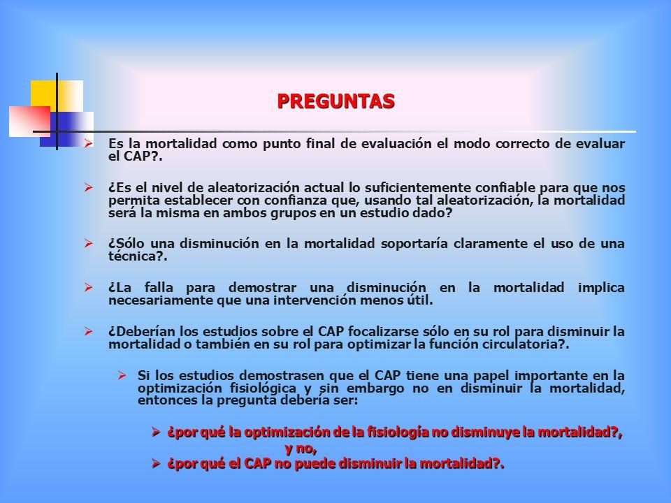 PREGUNTAS Es la mortalidad como punto final de evaluación el modo correcto de evaluar el CAP .