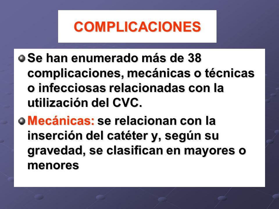 COMPLICACIONESSe han enumerado más de 38 complicaciones, mecánicas o técnicas o infecciosas relacionadas con la utilización del CVC.