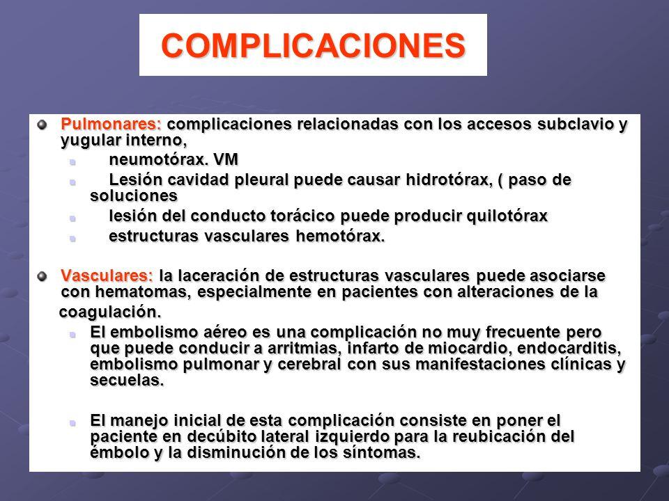 COMPLICACIONESPulmonares: complicaciones relacionadas con los accesos subclavio y yugular interno, neumotórax. VM.