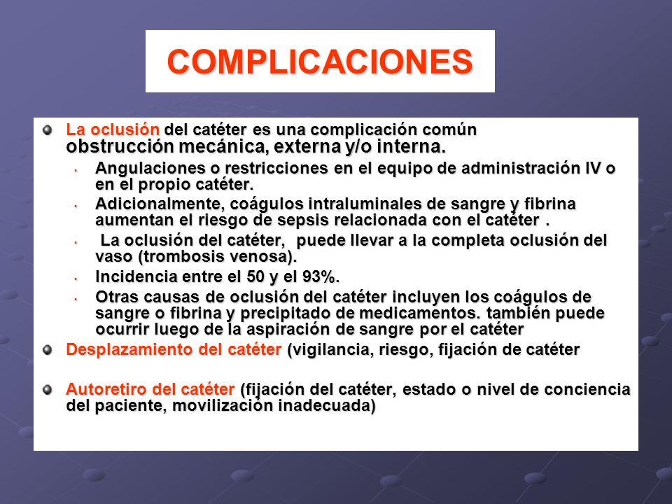 COMPLICACIONESLa oclusión del catéter es una complicación común obstrucción mecánica, externa y/o interna.