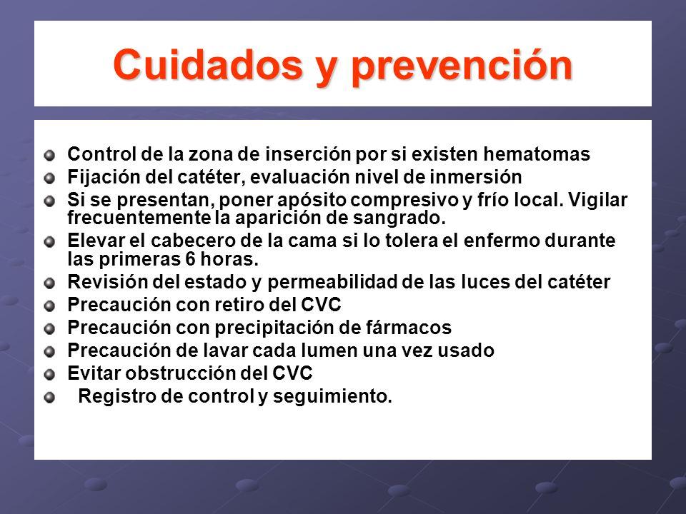 Cuidados y prevenciónControl de la zona de inserción por si existen hematomas. Fijación del catéter, evaluación nivel de inmersión.