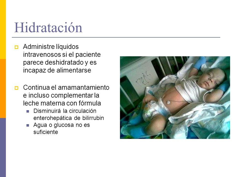 Hidratación Administre líquidos intravenosos si el paciente parece deshidratado y es incapaz de alimentarse.