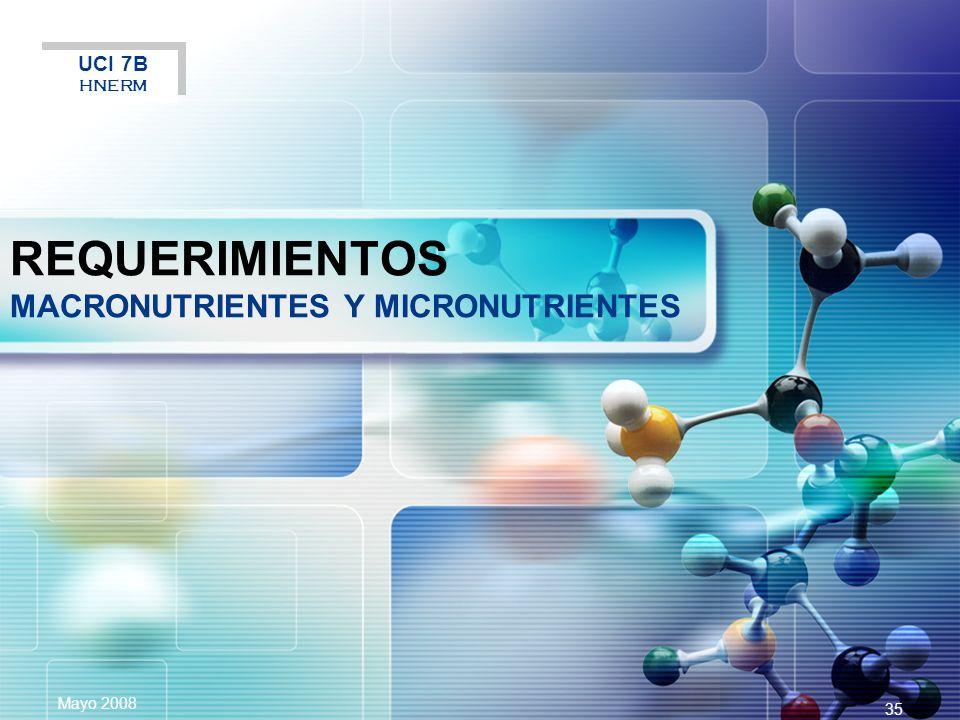 REQUERIMIENTOS MACRONUTRIENTES Y MICRONUTRIENTES